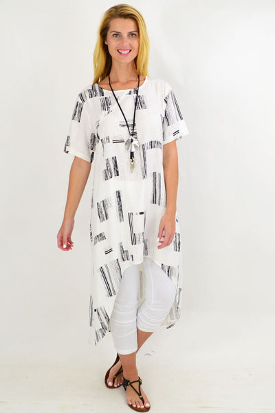 White Pattern Linen Hi Low Hem Tunic