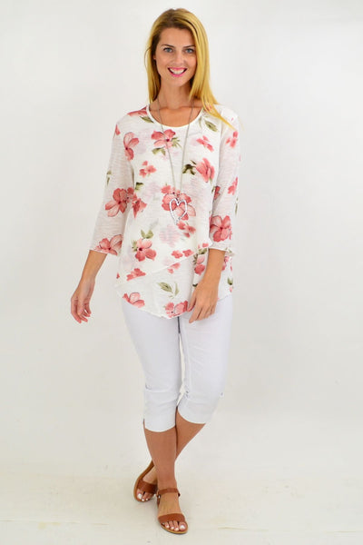 Pink Capucine Flower Tunic Top