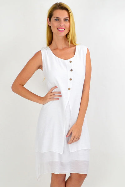 White Button Overlay Summer Tunic Dress