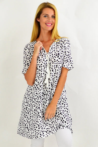Black Spot Tie Up Neck Tunic Dress | I Love Tunics | Tunic Tops | Tunic | Tunic Dresses  | womens clothing online