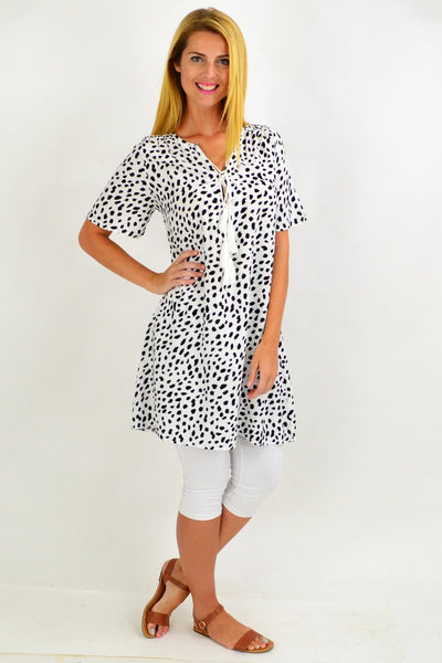 Black Spot Tie Up Neck Tunic Dress