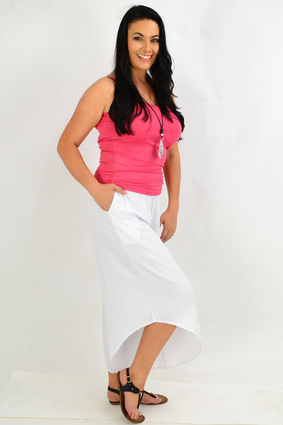 White Asymmetrical Wide Leg Summer Pants | I Love Tunics | Tunic Tops | Tunic | Tunic Dresses  | womens clothing online