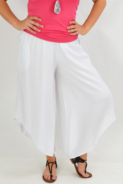 White Asymmetrical Wide Leg Summer Pants