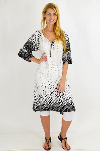 White Triangle Crinkle Tie Tunic Dress