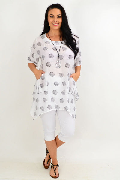 White Rita Relaxed Tunic Top