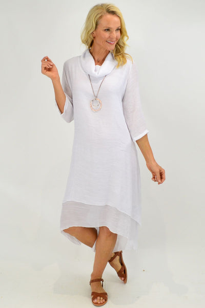 White Cowl Neck Tunic Dress - I Love Tunics