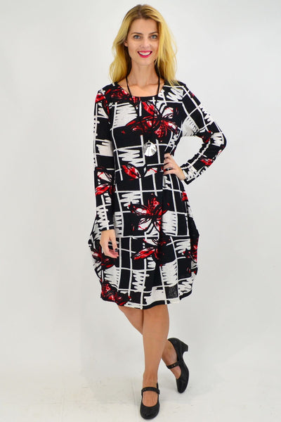Red Butterfly Cocoon Tunic Dress