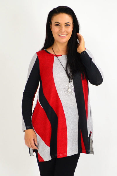 Red Swirl Winter Fleece Tunic Top - I Love Tunics