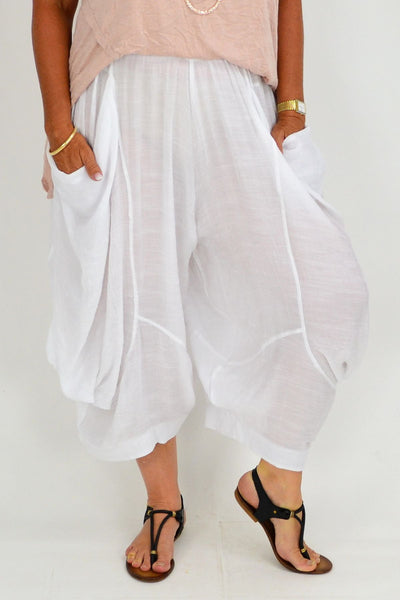 White Ameila Wide Leg Pants