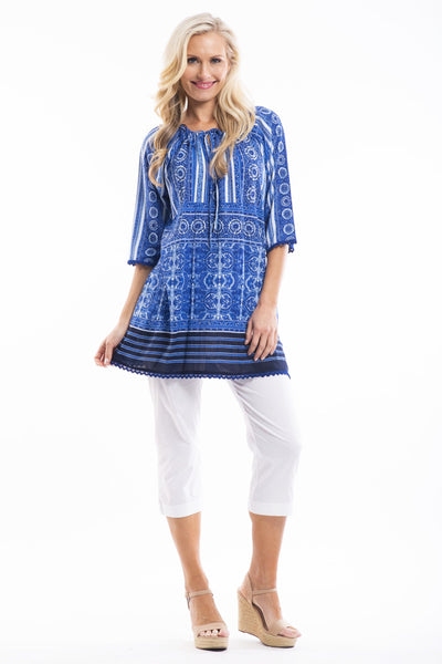 Blue White Moroccan Tunic
