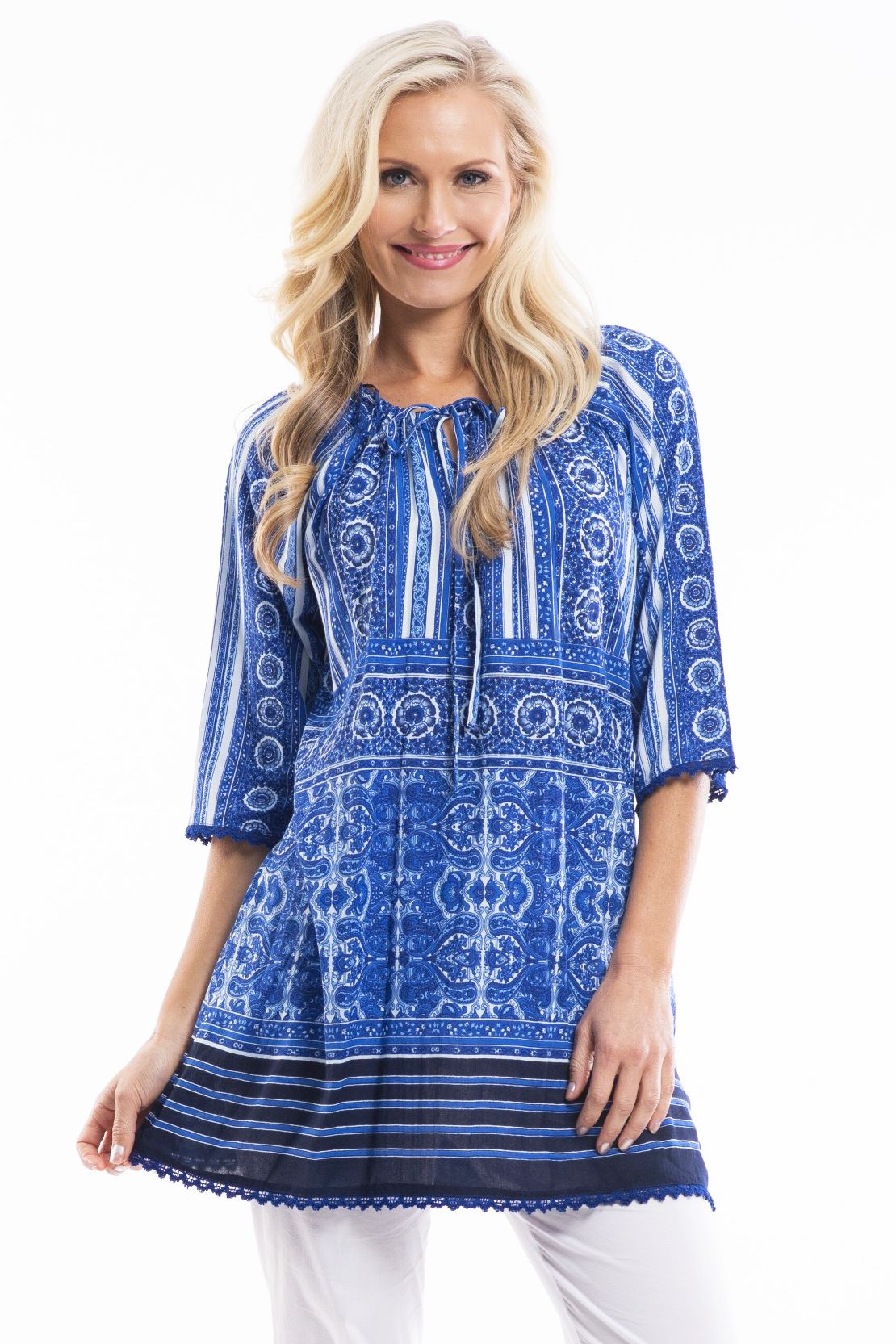 Blue White Moroccan Tunic | I Love Tunics | Tunic Tops | Tunic Dresses | Women's Tops | Plus Size Australia | Mature Fashion