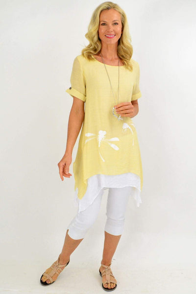 Yellow Dragonfly Tunic Top