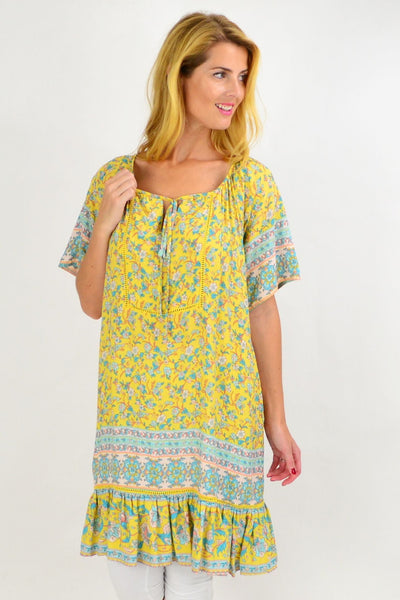 Yellow Floral Flowy Tunic Top | I Love Tunics | Tunic Tops | Tunic | Tunic Dresses  | womens clothing online