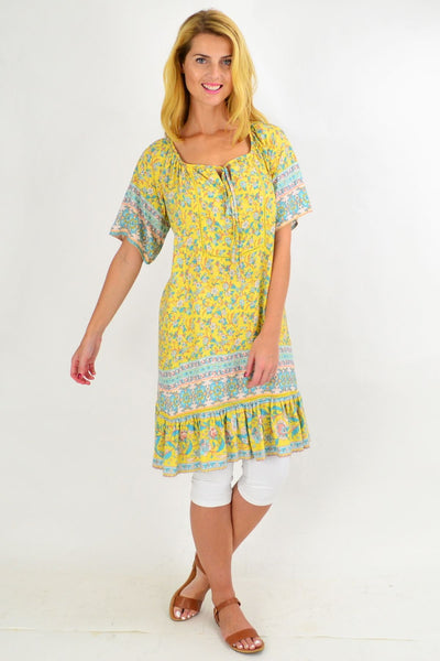 Yellow Floral Flowy Tunic Top