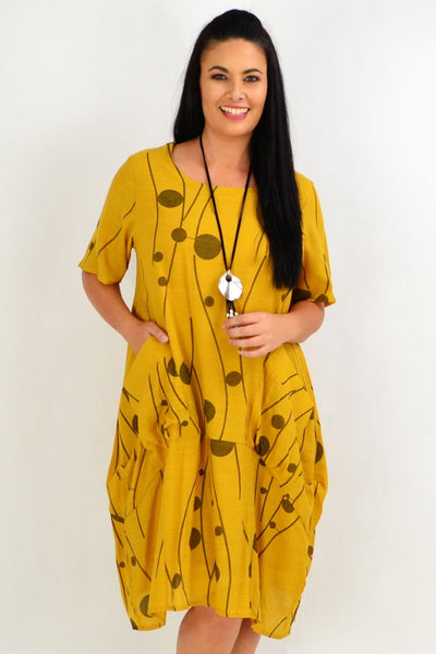Mustard Debs Dots Bubble Tunic Dress