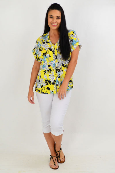 Yellow Short Flower Tunic Top