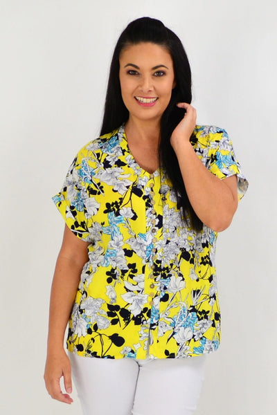 Yellow Short Flower Tunic Top | I Love Tunics | Tunic Tops | Tunic | Tunic Dresses  | womens clothing online