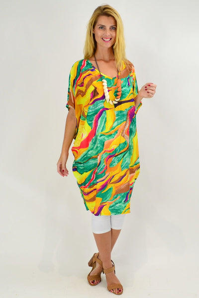 Yellow Swirl Relaxed Tunic Dress