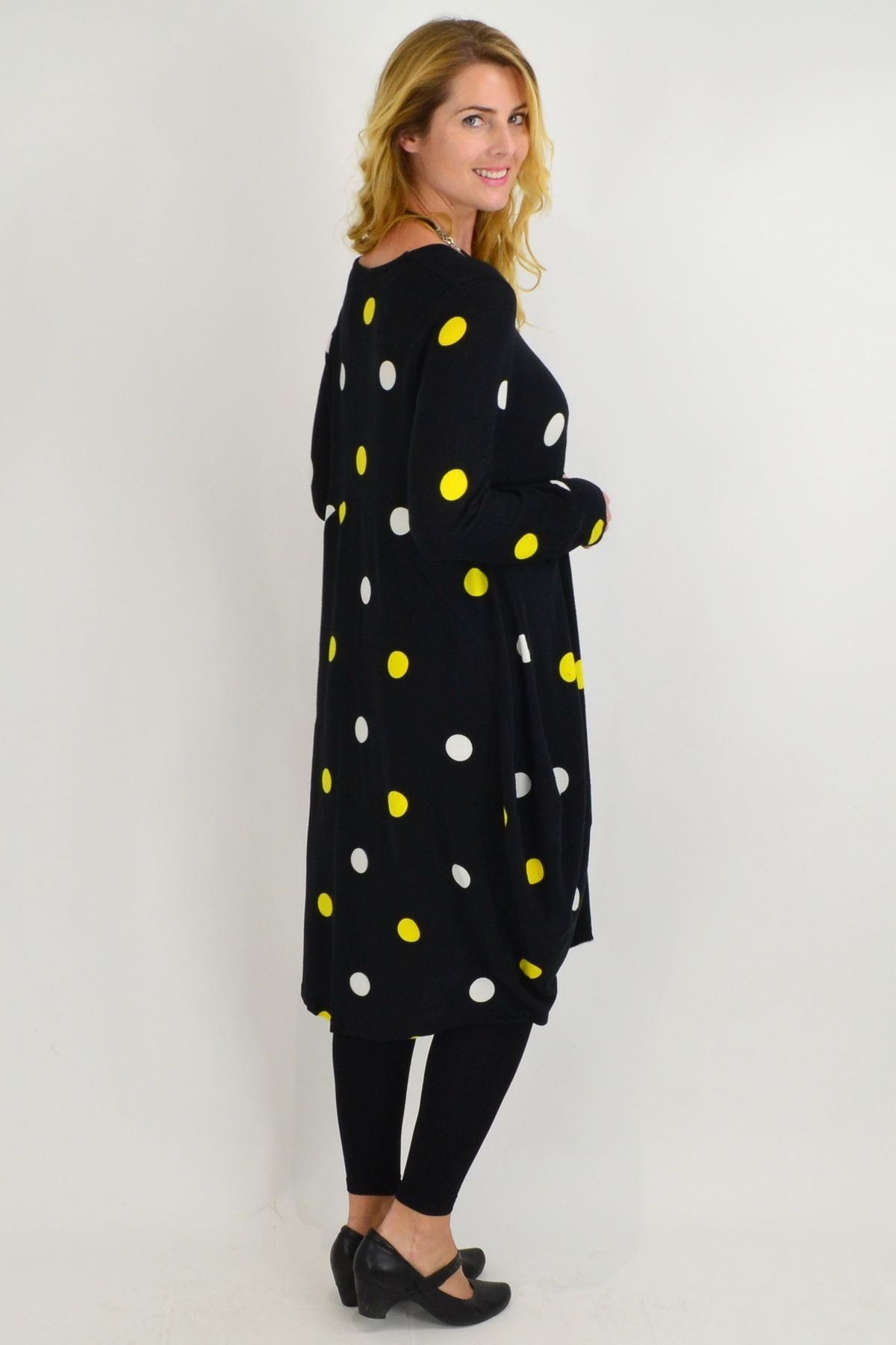 Yellow Spot Cocoon winter Tunic Dress - I Love Tunics