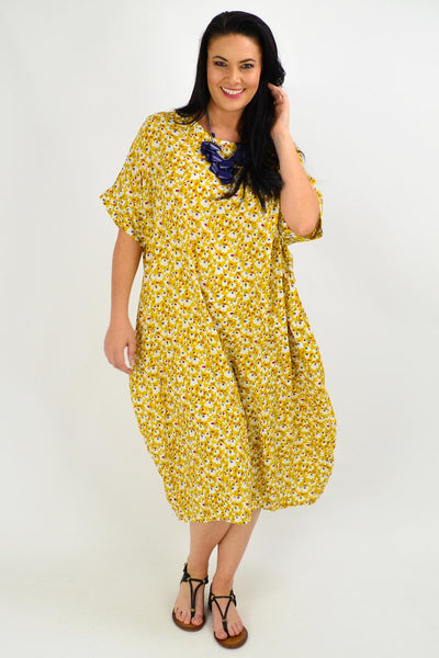 Mustard Tiny Floral Tunic Dress