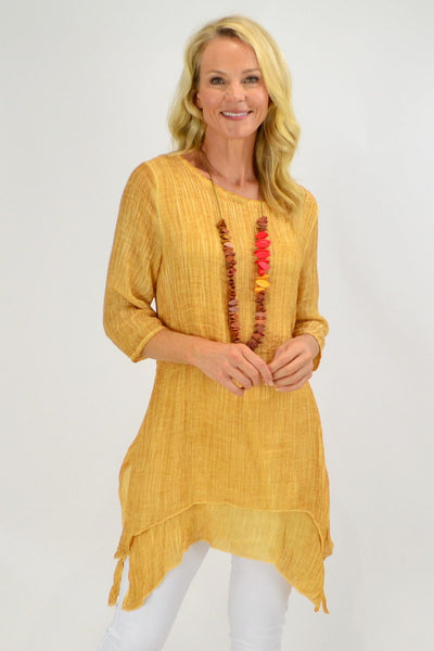 Mustard Textured 3/4 Sleeve Overlay Tunic Top | I Love Tunics | Tunic Tops | Tunic | Tunic Dresses  | womens clothing online