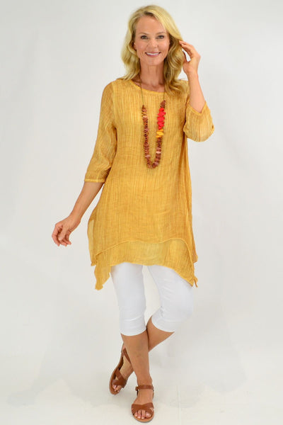 Mustard Textured 3/4 Sleeve Overlay Tunic Top