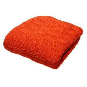 Jacqured knit throw - coral - house-of-amarah