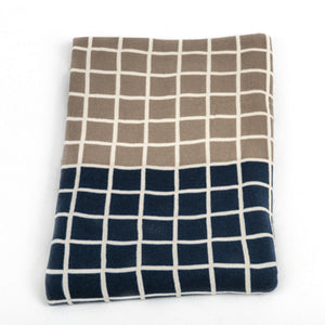 Knitted Throw - Indigo and Grey