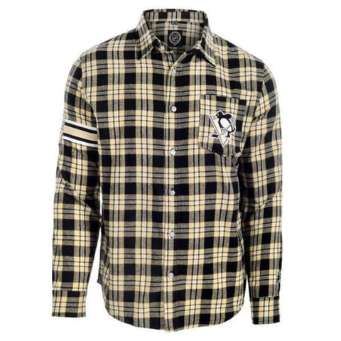 Pittsburgh Penguins Mens Flannel Long Sleeve Wordmark Button Shirt