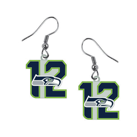 Seattle Seahawks Earrings - 12th Man Dangle Earrings