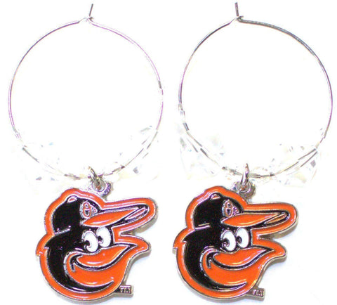Baltimore Orioles Beaded Hoop Logo Dangle Earrings