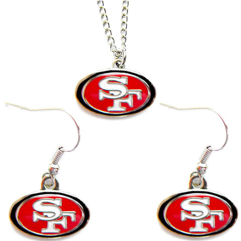 San Francisco 49ers Necklace - Logo Charm Necklace & Earrings Set