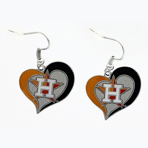 Houston Astros Swirl Heart Dangle Earrings