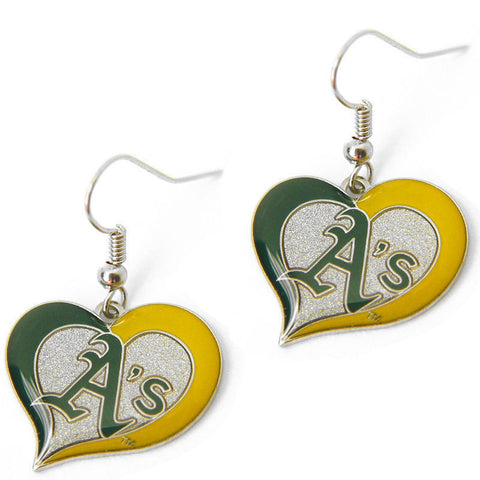 Oakland Athletics Swirl Heart Dangle Earrings