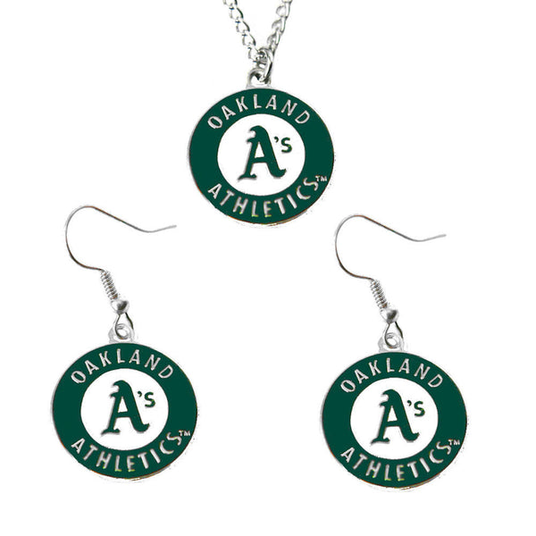 Oakland Athletics Logo Charm Necklace & Earrings Set