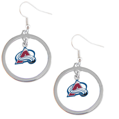 Colorado Avalanche Earrings - Hoop Logo Dangle Earrings