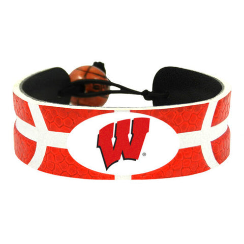 Wisconsin Badgers Leather Basketball Bracelet