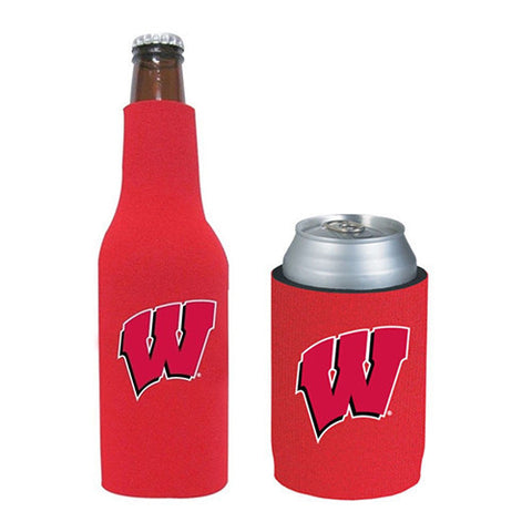 Wisconsin Badgers Can & Bottle Koozie Combo