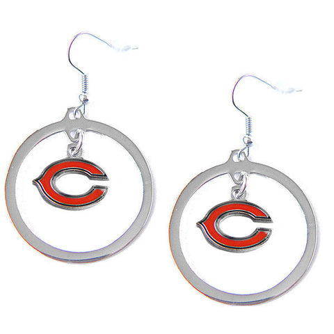 Chicago Bears Earrings - Hoop Logo Dangle Earrings