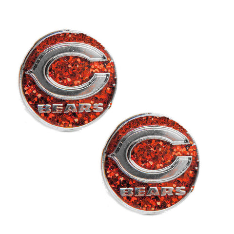 Chicago Bears Earrings - Glitter Logo Stud Earrings