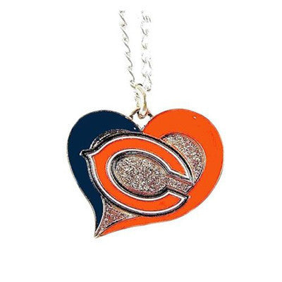 Chicago Bears Necklace - Swirl Heart Logo Necklace