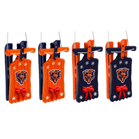 Chicago Bears Christmas Ornaments -Sleigh Hanging Set Of 4