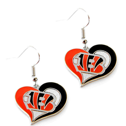 Cincinnati Bengals Earrings - Swirl Heart Dangle Earrings