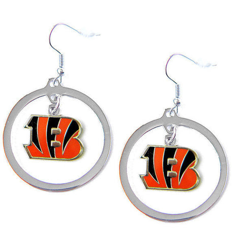 Cincinnati Bengals Earrings - Hoop Logo Dangle Earrings