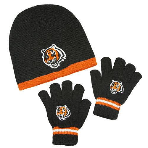 Cincinnati Bengals Gloves - Kid s Knitted Winter Hat And Gloves Set ... 61464c6aece