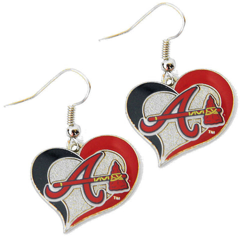 Atlanta Braves Earrings - Swirl Heart Dangle Earrings
