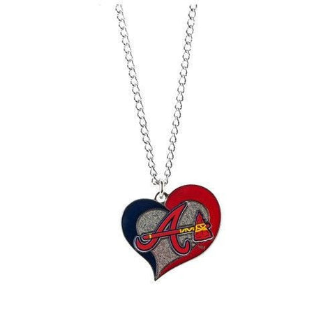 Atlanta Braves Necklace - Swirl Heart Logo Necklace