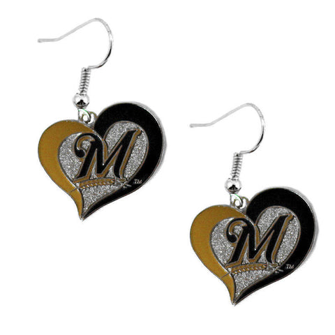 Milwaukee Brewers Swirl Heart Dangle Earrings