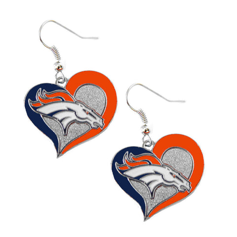 Denver Broncos Earrings - Swirl Heart Dangle Earrings