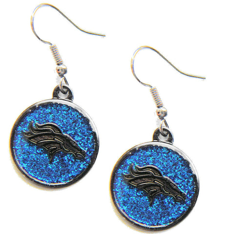 Denver Broncos Earrings - Glitter Logo Dangle Earrings